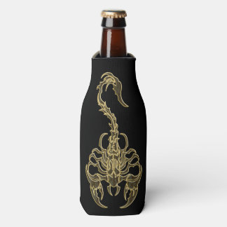 Gold poisonous scorpion very venomous insect bottle cooler