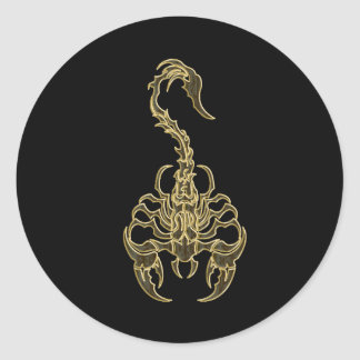 Gold poisonous scorpion very venomous insect classic round sticker