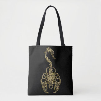 Gold poisonous scorpion very venomous insect tote bag