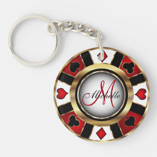 Gold Poker Chip Design - Monogram Key Ring