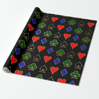 Gold Poker Suits Wrapping Paper
