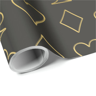 Gold Poker Symbols Wrapping Paper
