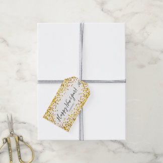 Gold Polka Dot Confetti Happy New Year Gift Tags