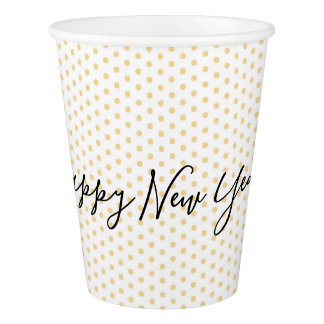 Gold Polka Dot Pattern Happy New Year Party Cups