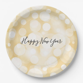 Gold Polka Dot Pattern New Year's Paper Plates