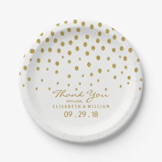 Gold Polka Dot Wedding 7 Inch Paper Plate