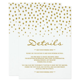Gold Polka Dot Wedding Detail Card