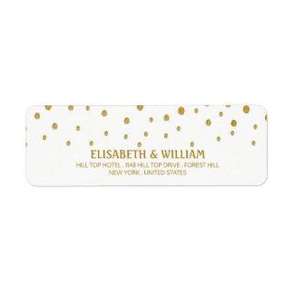 Gold Polka Dot Wedding Return Address Label