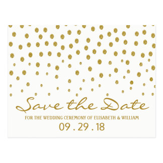 Gold Polka Dot Wedding Save The Date Postcard