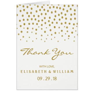 Gold Polka Dot Wedding Thank You Card