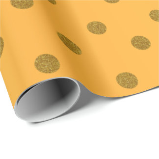 Gold Polka Dots and Golden Yellow Satin Wrapping Paper