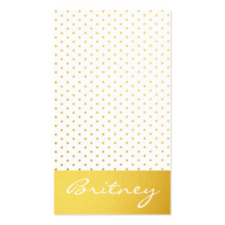 Gold polka dots and monogram - custom business card templates