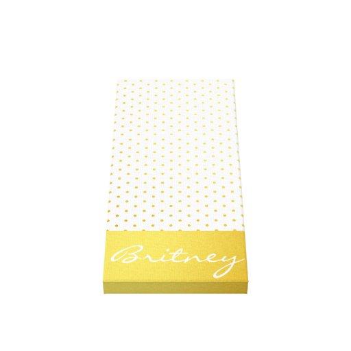 Gold polka dots and monogram - custom gallery wrap canvas