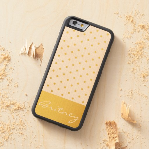 Gold polka dots and monogram - custom carved® maple iPhone 6 bumper case