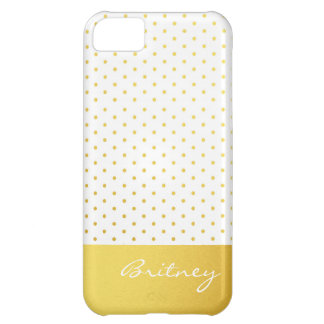 Gold polka dots and monogram - custom iPhone 5C case