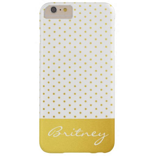 Gold polka dots and monogram - custom barely there iPhone 6 plus case