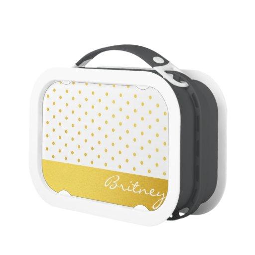 Gold polka dots and monogram - custom yubo lunchboxes