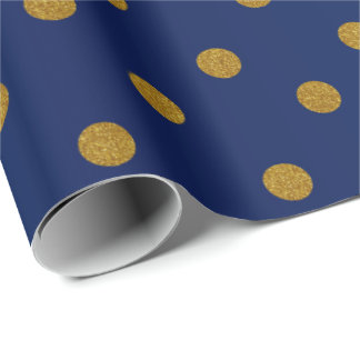 Gold Polka Dots and Navy Blue Satin Wrapping Paper