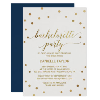 Gold Polka Dots Bachelorette Party Card