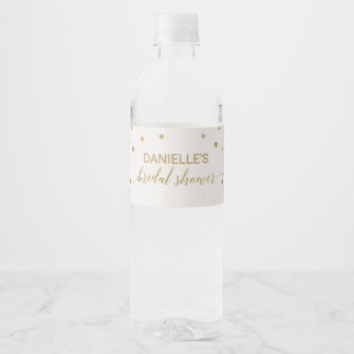 Gold Polka Dots Bridal Shower Water Bottle Label