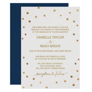 Gold Polka Dots Formal Wedding Card