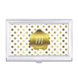Gold Polka Dots Monogram Business Card Case