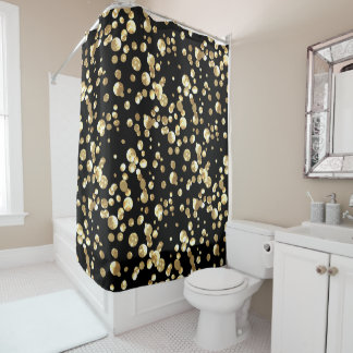 Gold polka dots on a black background . shower curtain