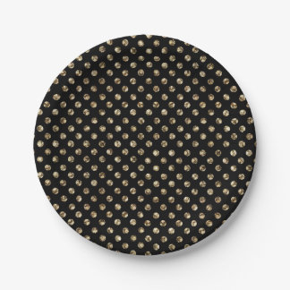 Gold Polka Dots on Black Paper Plate 7 Inch Paper Plate