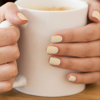 Gold Polka Dots on Cream Minx Nail Art