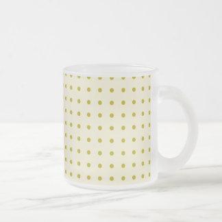 Gold polka dots on cream coffee mugs