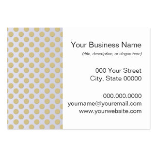 Gold Polka Dots on Silver Business Card Template