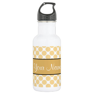 Gold Polka Dots On White Background 532 Ml Water Bottle