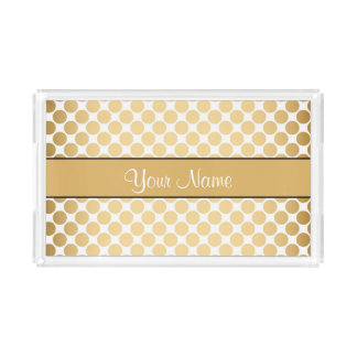 Gold Polka Dots On White Background Acrylic Tray