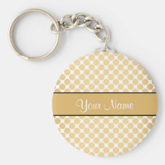 Gold Polka Dots On White Background Basic Round Button Key Ring