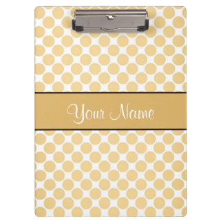 Gold Polka Dots On White Background Clipboard
