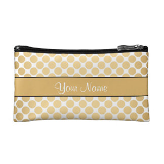 Gold Polka Dots On White Background Cosmetic Bag