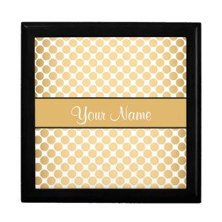 Gold Polka Dots On White Background Gift Box