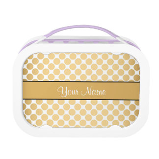 Gold Polka Dots On White Background Lunch Box