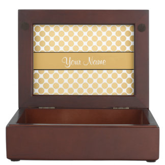 Gold Polka Dots On White Background Memory Boxes
