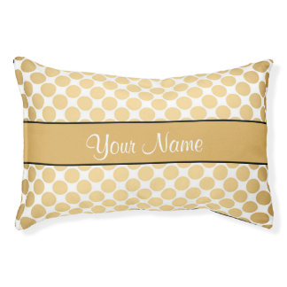 Gold Polka Dots On White Background Pet Bed