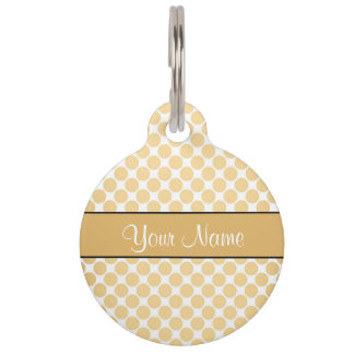 Gold Polka Dots On White Background Pet Name Tag