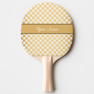 Gold Polka Dots On White Background Ping Pong Paddle