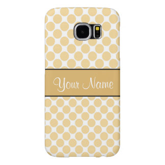 Gold Polka Dots On White Background Samsung Galaxy S6 Cases