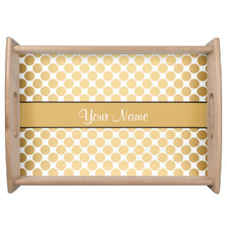Gold Polka Dots On White Background Serving Tray