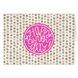 Gold Polka Dots Pattern | Fuchsia Happy Birthday Card