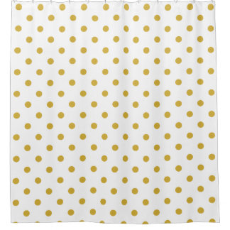 Gold Polka Dots Pattern on White Shower Curtain