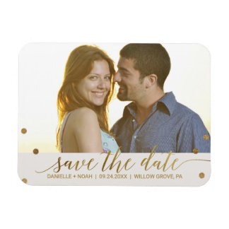 Gold Polka Dots Save the Date Photo Magnet