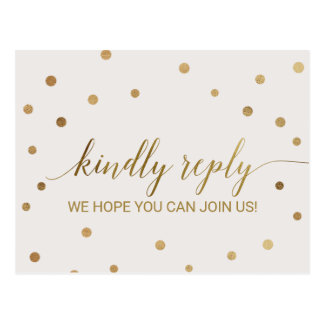 Gold Polka Dots Song Request RSVP Postcard