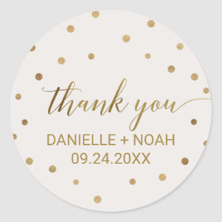 Gold Polka Dots Thank You Favor Classic Round Sticker