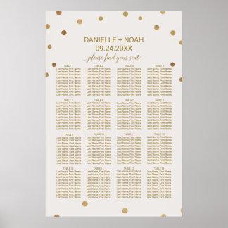Gold Polka Dots Wedding Seating Chart